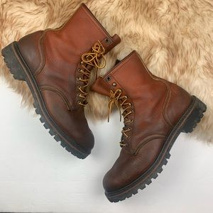 Red Wing Work Boots Lace Up Tall Round Toe 10 1/2E